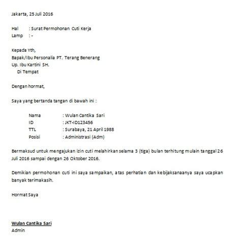 contoh surat izin cuti wisata dan info sumbar
