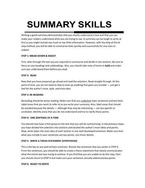 Summary Exles summary writing skills