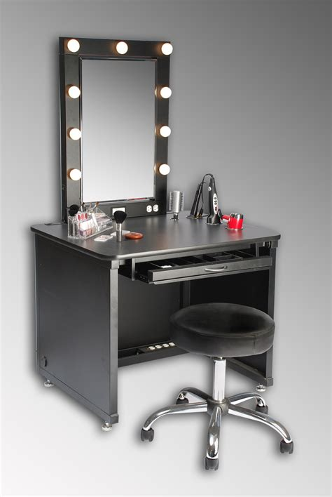 Modern Makeup Table by Small Black Modern Makeup Vanity Table With Lights Around