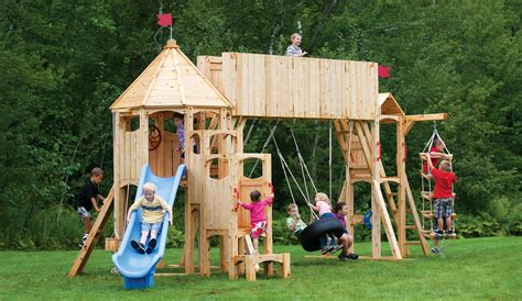 cedarworks swing set frolic 414 wooden swing set and outdoor playset