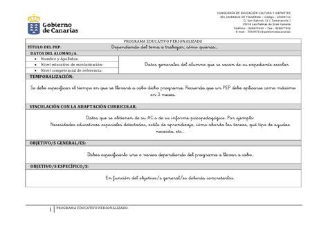 Modelo Adaptacion Curricular Ingles Modelo De Pep Curricular Instrucciones