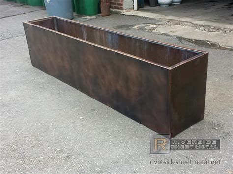 metal planter boxes custom copper flower box with patina finish