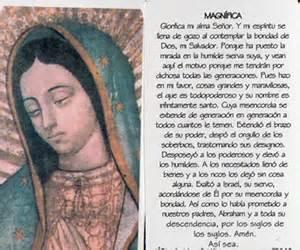 Oracion de la magnifica pvc 5 5 x 7 5 con oracion virgen de gudalupe