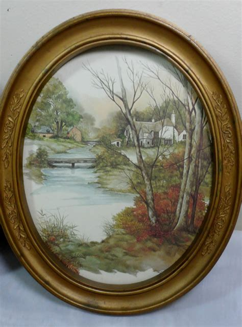 home interior framed vtg homco home interior shabby cottage chic f massa oval