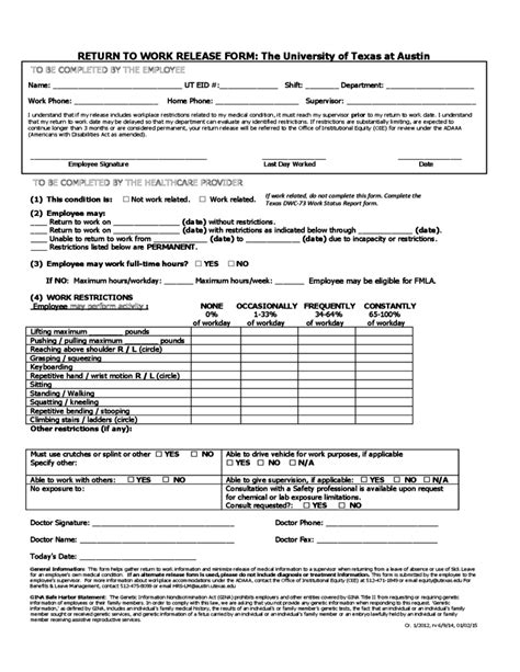 Release Letter To Go Back To Work printable return to work form savesa