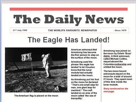 layout of newspaper article ks2 on this day technostories