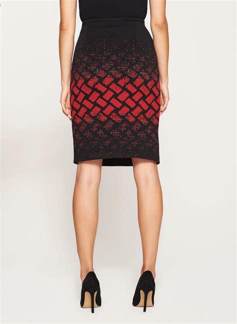 geometric print pencil skirt