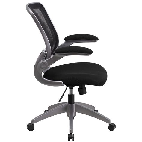 Flip Chair by Ergonomic Home Mid Back Black Mesh Swivel Task Chair With Gray Frame And Flip Up Arms