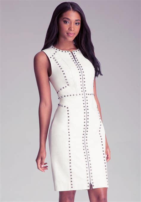 Dress Bebe Studded bebe ari studded dress in white winter white lyst