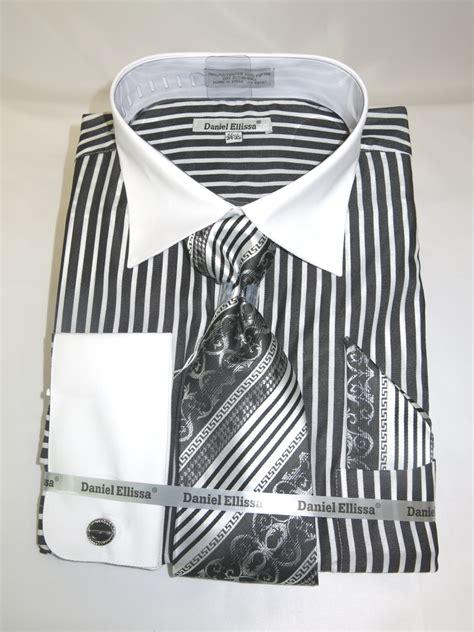 pattern french cuff shirts daniel ellissa ds3787p2 black men s french cuff dress