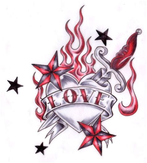 flaming heart tattoo designs banner and flaming design