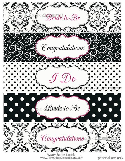 Bridal Shower Label Templates water bottle labels bridal shower black by