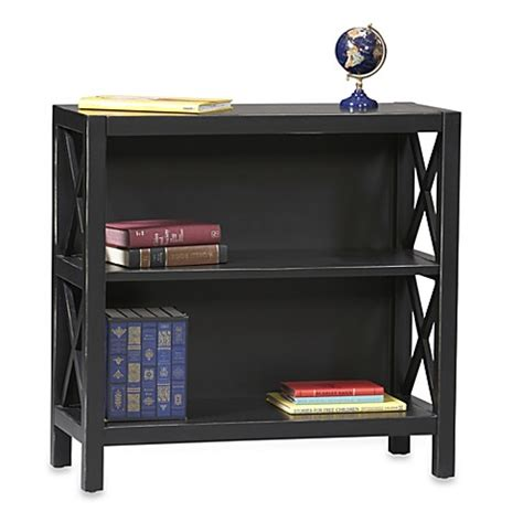 bed bath and beyond bookcase anna 2 shelf bookcase in black bed bath beyond