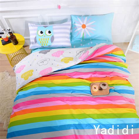 rainbow bedding yadidi 100 cotton rainbow owl bedding set cartoon modern flower floral twin queen