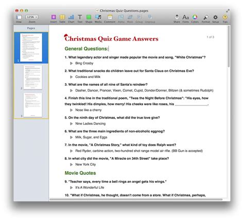 quiz templates for pages christmas quiz game template for pdf or pages