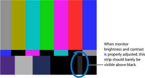 color pattern to adjust monitor calibrating video monitors with color bars