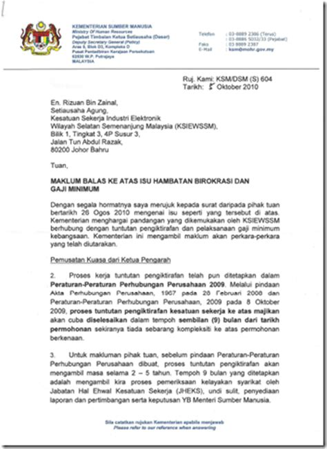 kesatuan sekerja elektronik wilayah selatan balasan memorandum dari