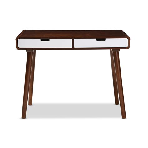 dark wood modern desk baxton studio casarano mid century modern dark walnut and