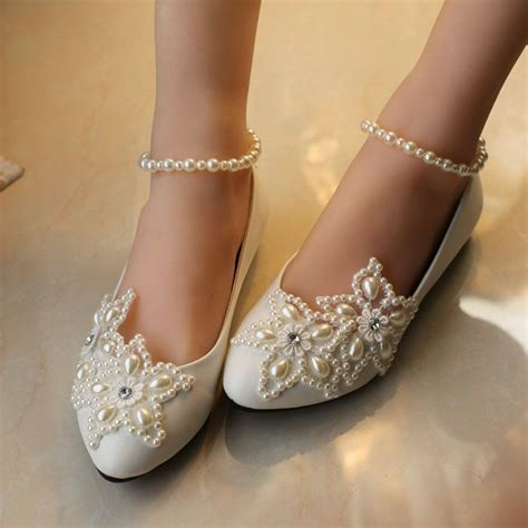 braut sandalen flach lace wedding shoes wedding shoes pearl bling flat shoes