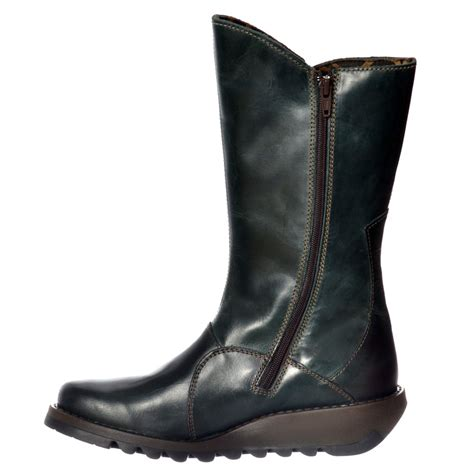 womens fly mes 2 calf high winter boot low wedge