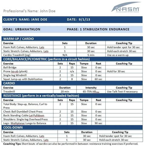 nasm workout template nasm opt template sports performance testing and