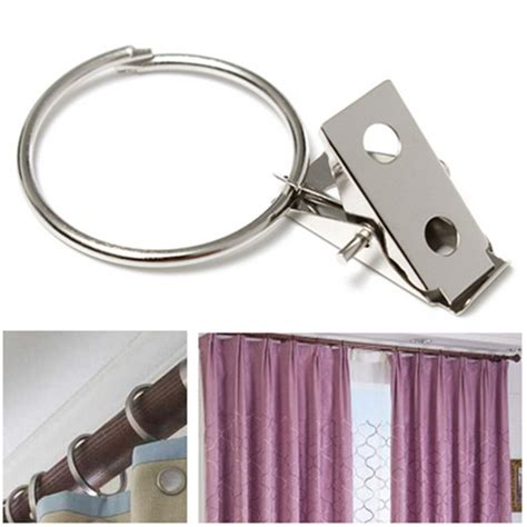 curtain pole rings with clips 10pcs metal hooks window curtain rod clip drapery clips