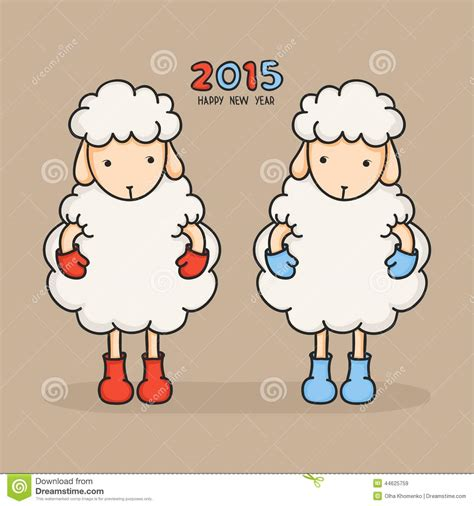 new year 2015 year of the sheep or goat colorful sheep in boots happy new year 2015 stock