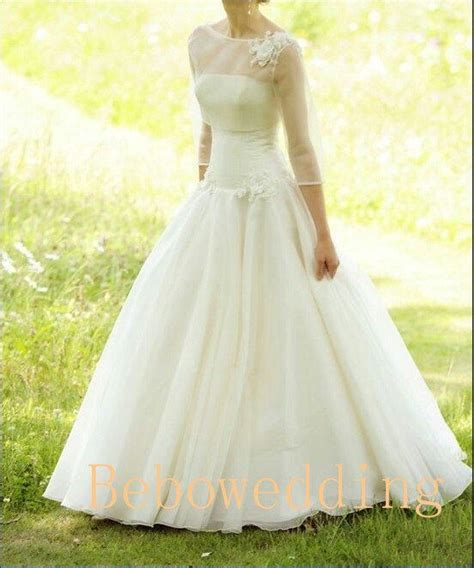 simple princess outdoor wedding dress with 3 4 by