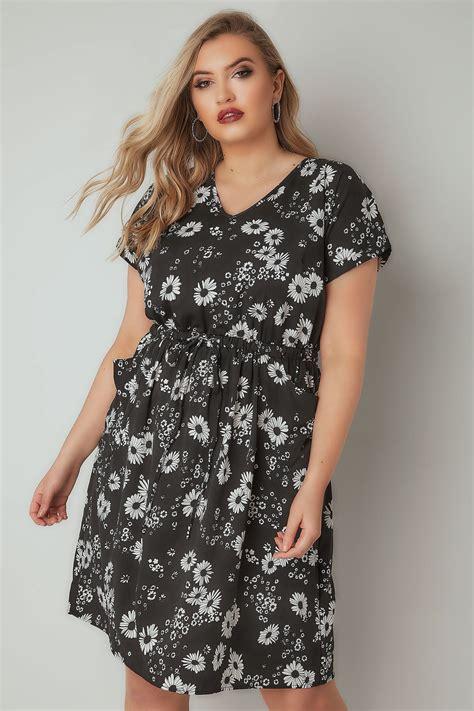 Fashion Wanita All Asli Wash Basic schwarz wei 223 blumen muster t shirt kleid in gro 223 en gr 246 223 en 44 64
