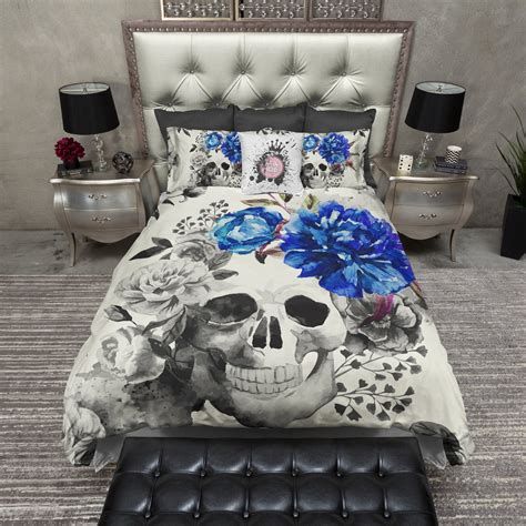 royal blue bedding sets royal blue flower watercolor skull duvet bedding sets