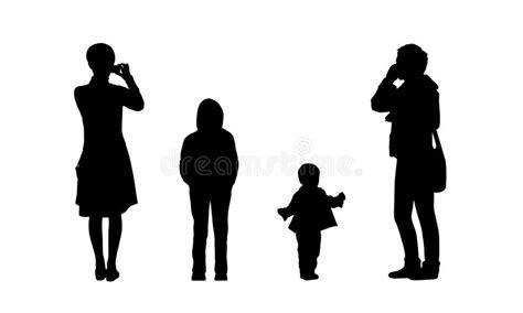 imagenes siluetas negras people standing outdoor silhouettes set 14 stock
