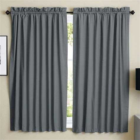 Steel Grey Curtains Blazing Needles Twill Curtain Panels In Steel Gray Set Of 2 Dp 63x52 Rp Tw Gy