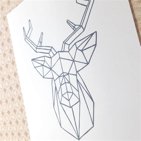 Origami Stag - origami stag print by lydia s paper shop