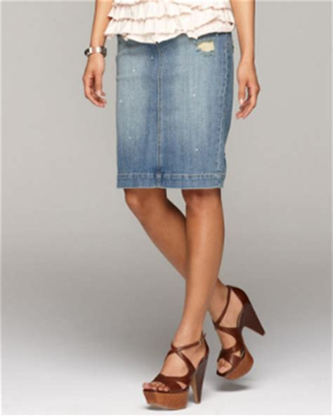 coquette knee length denim skirts