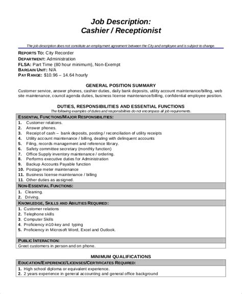 sle cashier dutie 7 documents in word pdf