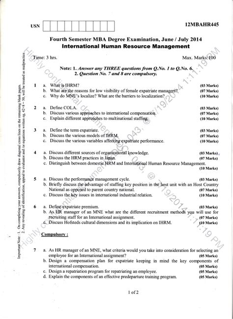 Mg Mba 4th Semester Question Papers by 4th Semester Mba June 2014 Question Papers