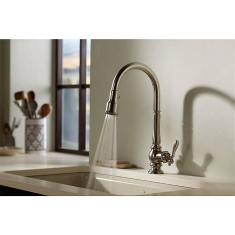 Install Kitchen Sink Faucet Kohler Artifacts Single Handle Pull Sprayer Kitchen Faucet In Inside Kohler Kitchen Faucets