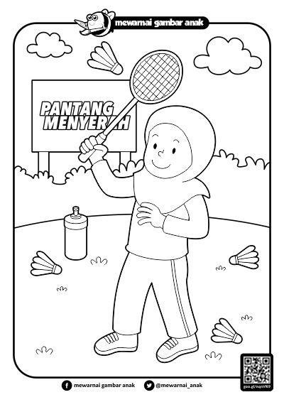 Badminton Mewarnai | mewarnai gambar anak mewarnai gambar anak bermain bulu