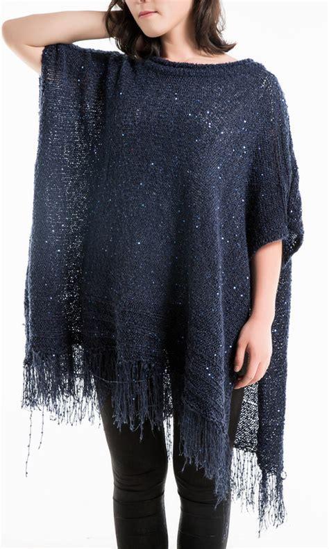 Women?s Metallic Sequin Tunics Poncho fringe Pullover