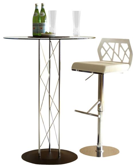 glass top bar table set trave 3 pc chrome glass bar table white stools set