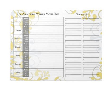 printable weekly planner notepad weekly menu template 20 free psd eps format download