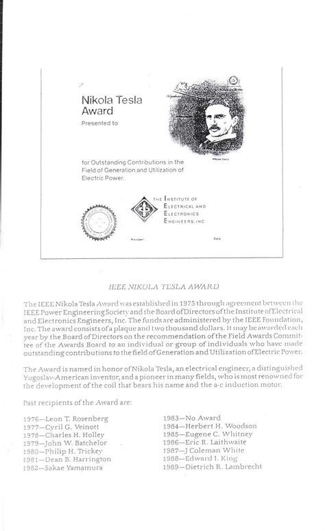 Nikola Tesla Awards The Quot Nikola Tesla Award Quot Is Being Given Yearly By The Ieee