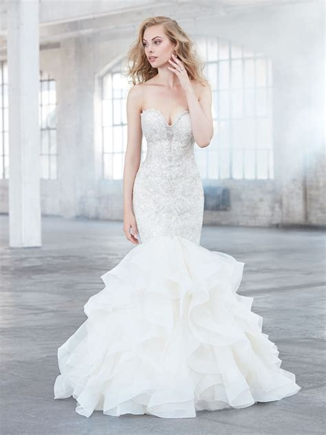 Beaded Sweetheart Neck Bodice Ruffle Skirt Wedding Dress