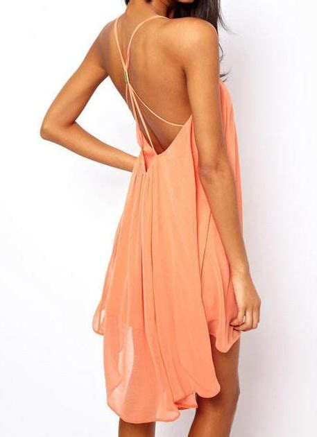 Swing Kleid Pink by Pink Spaghetti Backless Chiffon Dress Sheinside