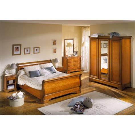 Chambre Louis Philippe merisier REBECCA : lit, commode 3