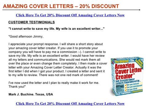 Amazing Cover Letter Creator Software Amazing Cover Letters Discount