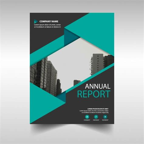 green and black annual report cover template vector free