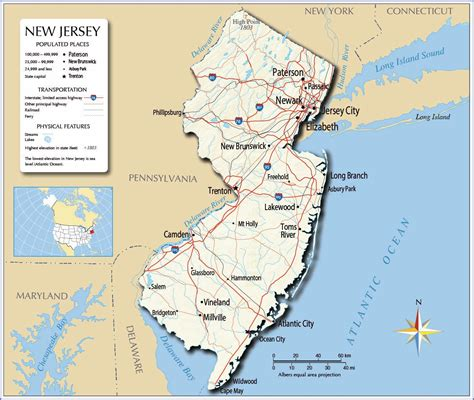 new jersey state map large new jersey state maps for free and print
