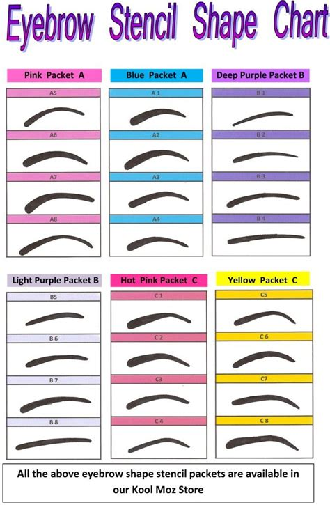 printable eyebrow stencils actual size hair and beauty