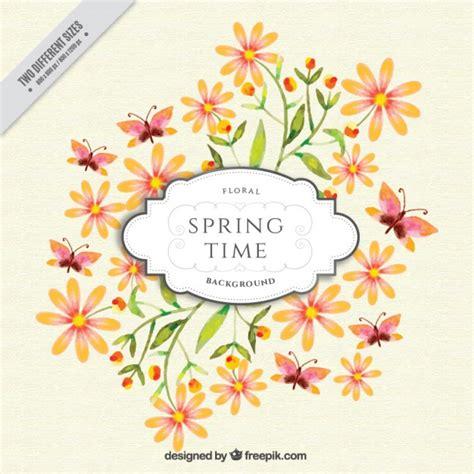 sfondi fiori e farfalle acquerello sfondo di primavera con fiori e farfalle